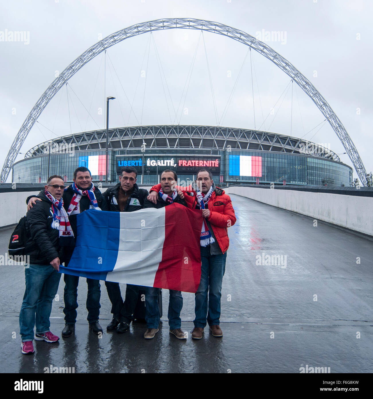 London, UK.  17 November 2015.  Frenh supporters start arriving at Wembley Stadium ahead of the football friendly - Stock Image
