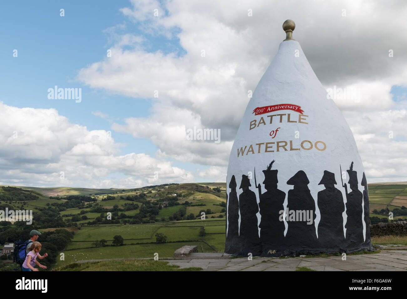 White Nancy in Bollington Cheshire displaying the Battle of Waterloo decoration. The monument is on the Gritstone - Stock Image