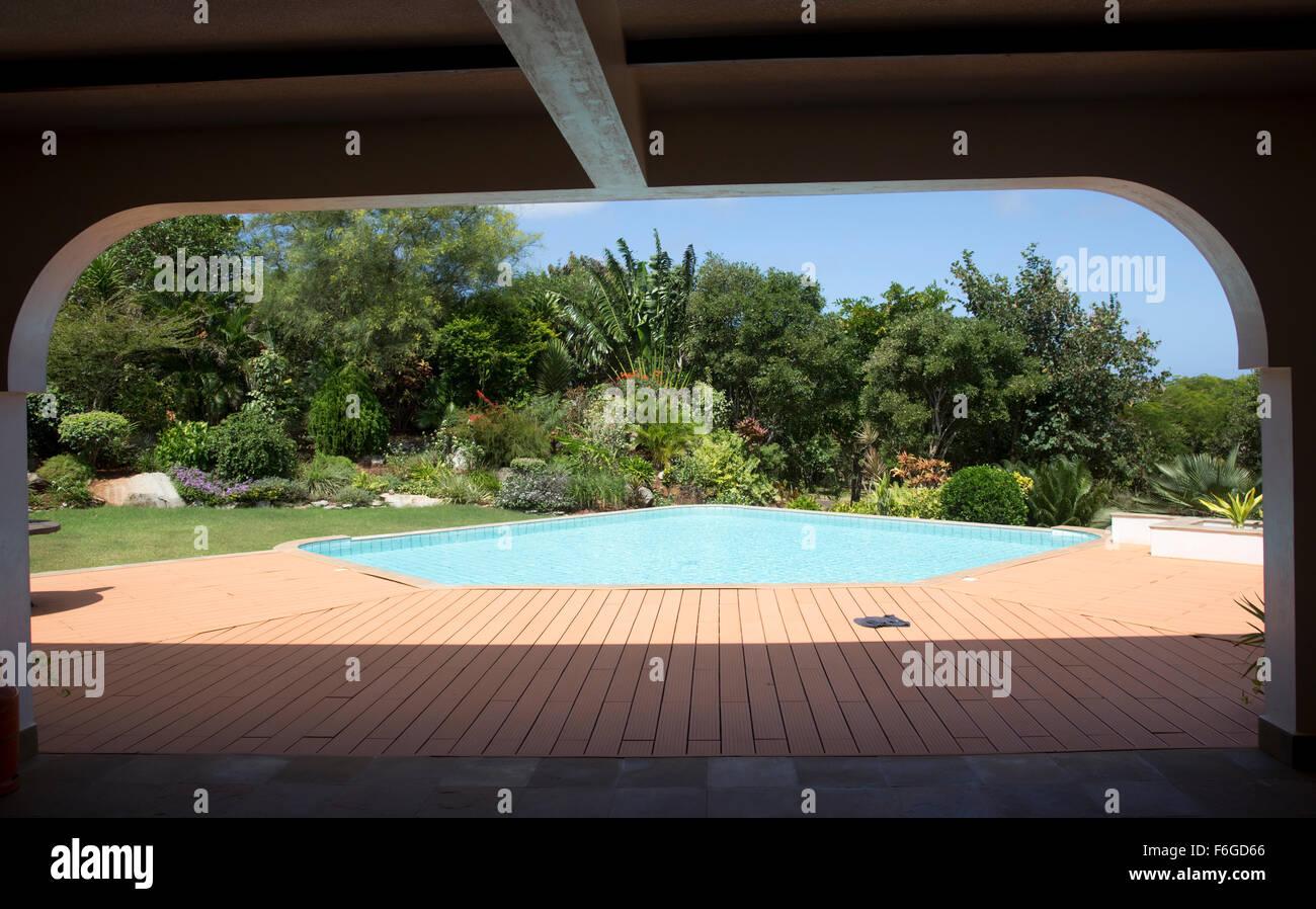 Inviting swimming pool on residential property Vipingo Ridge Kenya - Stock Image