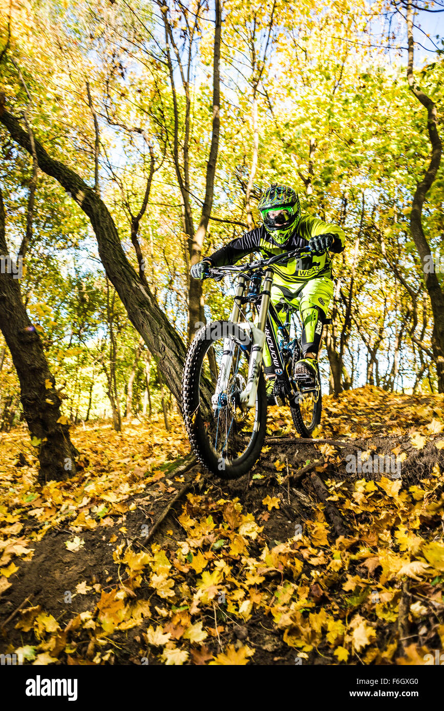 A downhill bike jump. MTB jump. - Stock Image