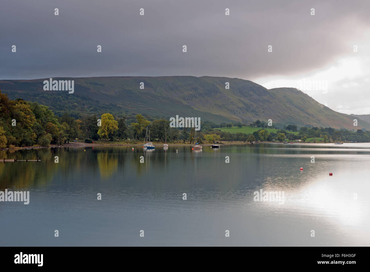 Views from  Pooley Bridge Pier of boats on Ullswater Lake District National Park, Cumbria, England, Uk, Gb. Stock Photo