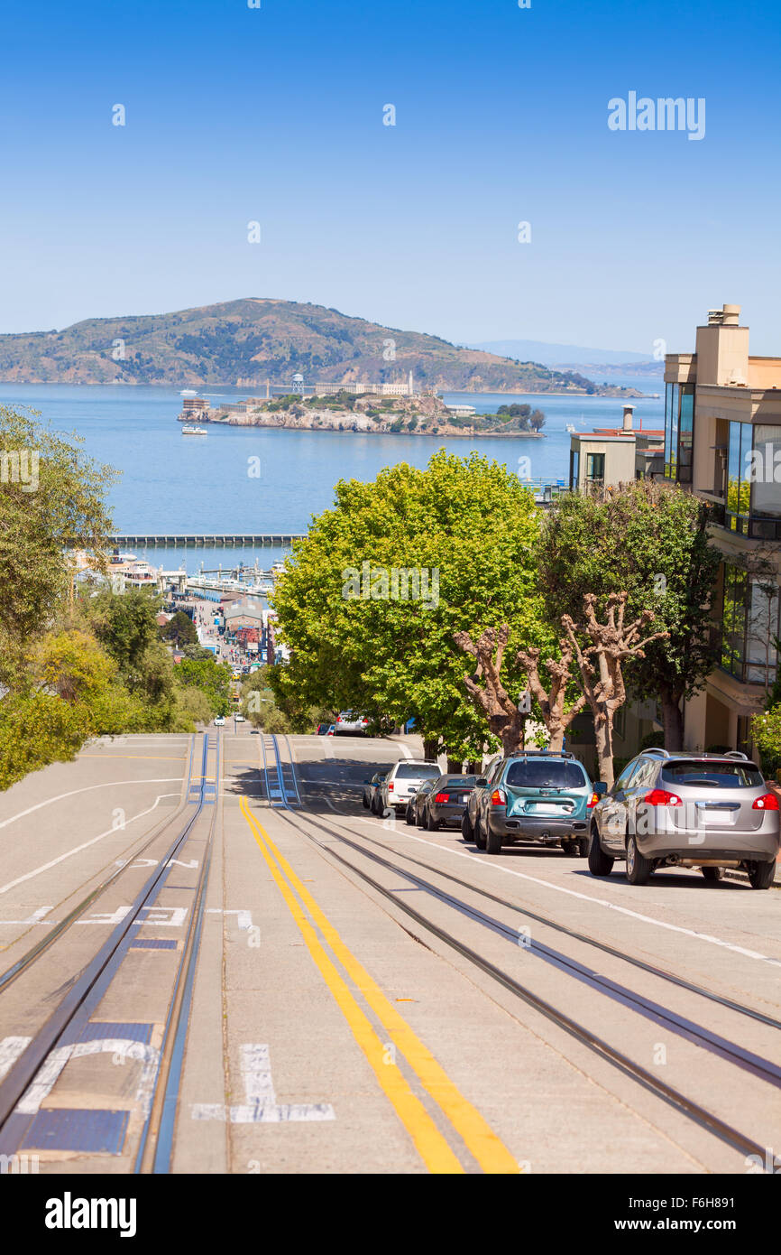 Hyde street and Alcatraz island during summer day - Stock Image
