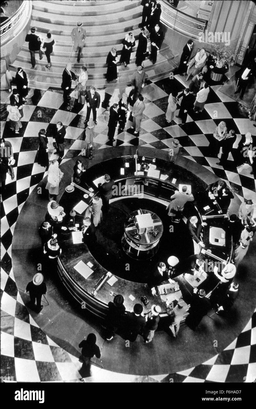Pictured EDMUND GOULDING HOTEL LOBBY MOVIE SET NYC RITZ TOWERS BIRDS EYE VIEW AERIAL SHOT CIRCULAR PATTERN ABSTRACT FOYER PEOPLE