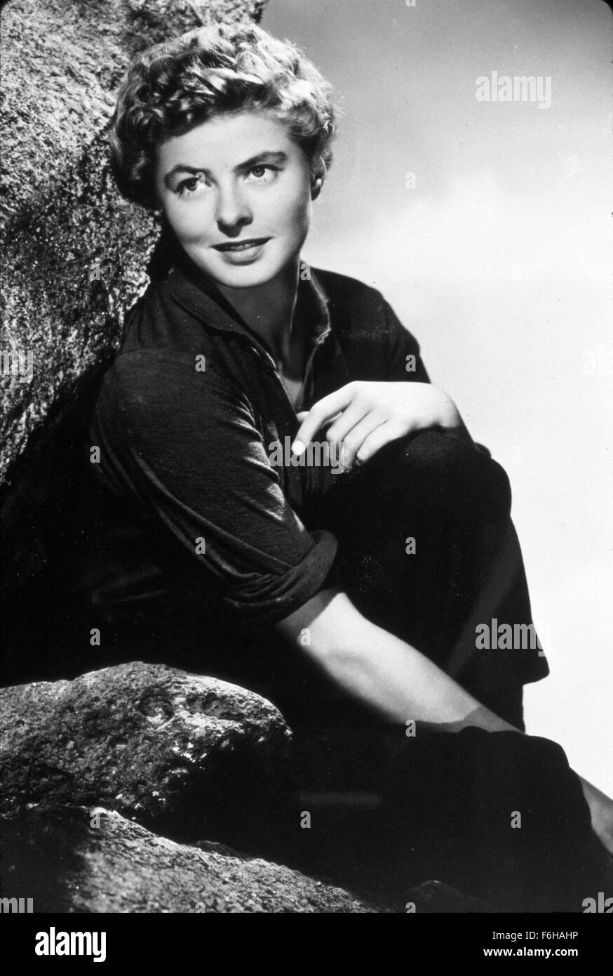 1943, Film Title: FOR WHOM THE BELL TOLLS, Director: SAM WOOD, Studio: PARAMOUNT, Pictured: INGRID BERGMAN, HAIRSTYLE, - Stock Image