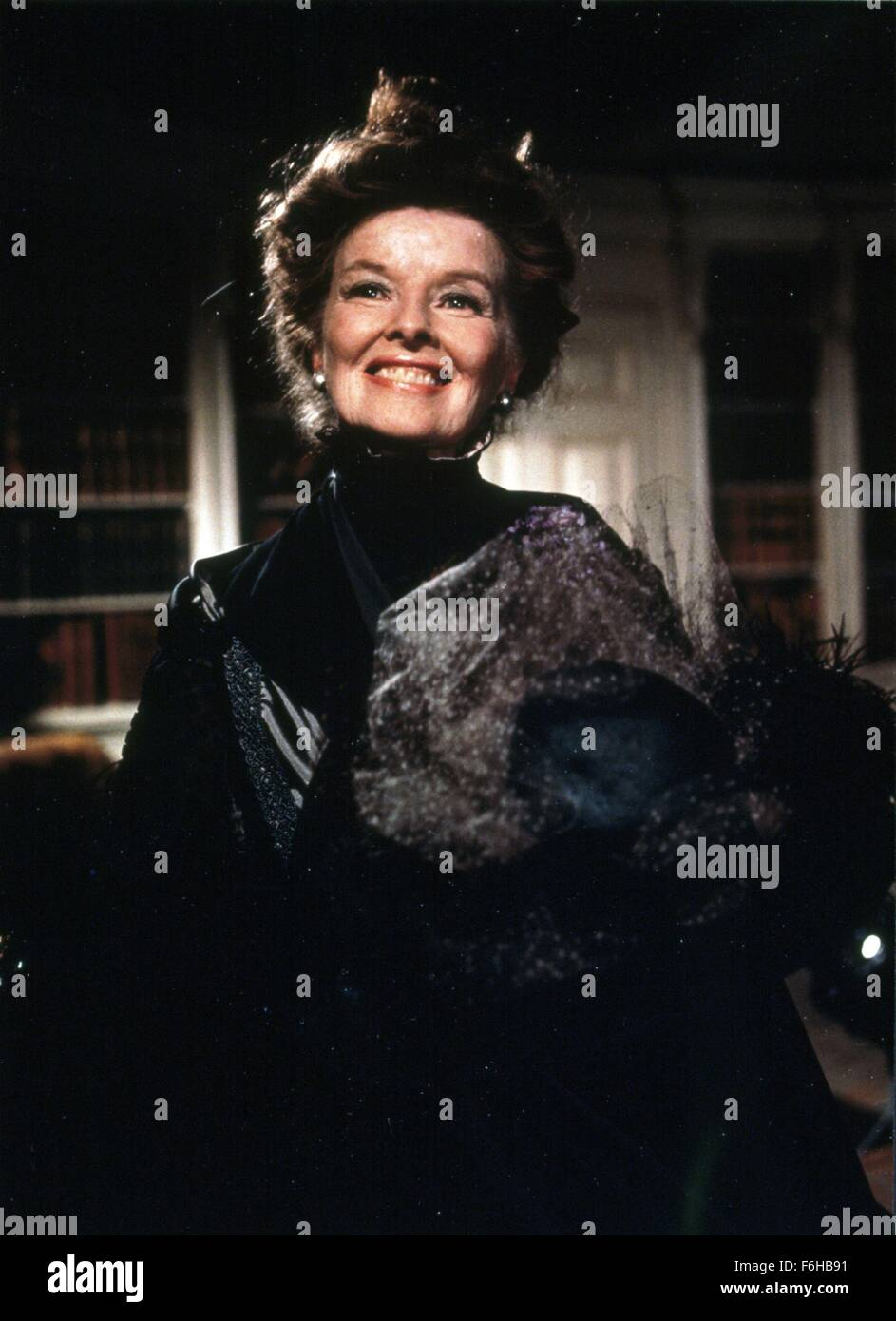 1975, Film Title: LOVE AMONG THE RUINS, Director: GEORGE CUKOR, Pictured: KATHARINE HEPBURN, WIDOW, OUTFIT - BLACK, - Stock Image