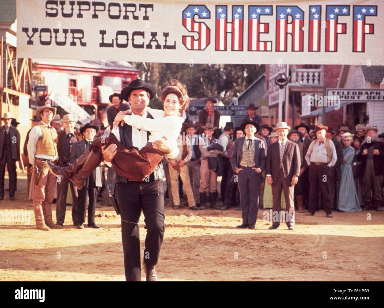 1969, Film Title: SUPPORT YOUR LOCAL SHERIFF, Director: BURT KENNEDY, Pictured: JAMES GARNER, JOAN HACKETT. (Credit - Stock Image