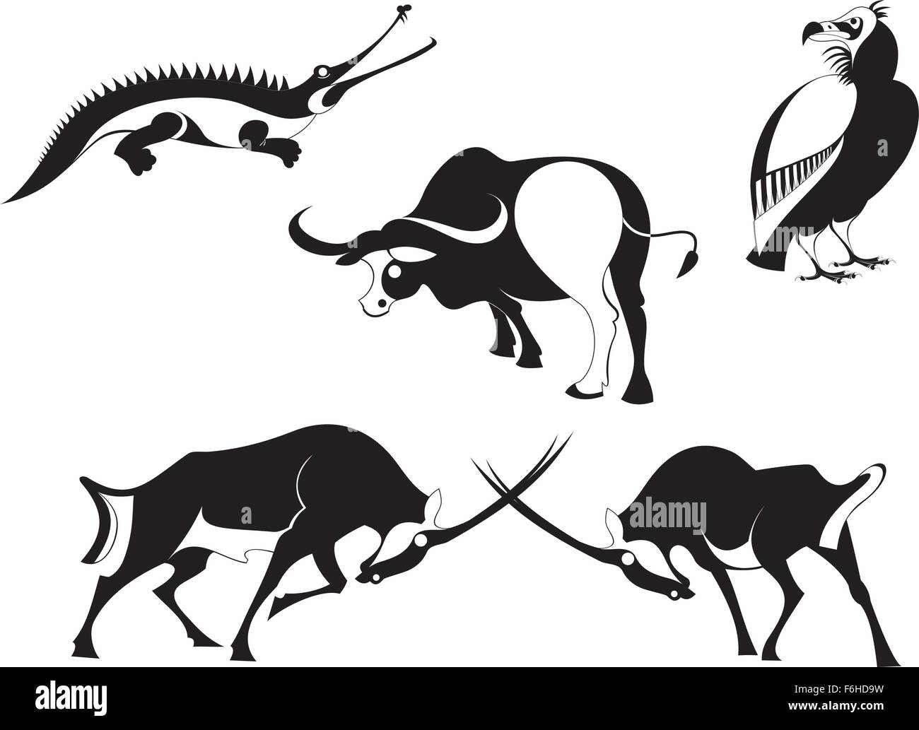 Vector original art animal silhouettes collection - Stock Vector