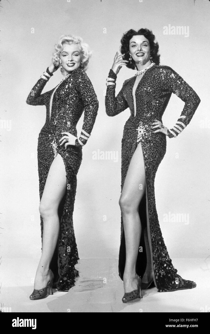 1953, Film Title: GENTLEMEN PREFER BLONDES, Director: HOWARD HAWKS, Studio: FOX, Pictured: FULL LENGTH, MARILYN - Stock Image