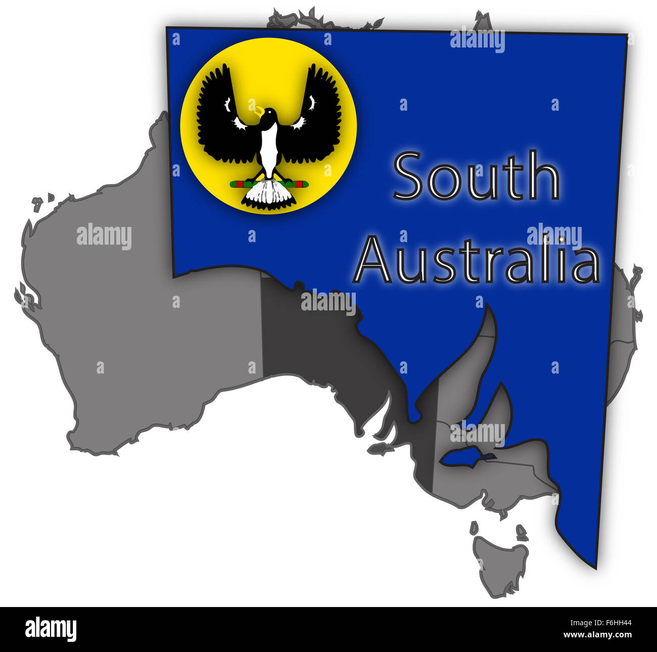 A South Australia map and flag isolated on a white background - Stock Image
