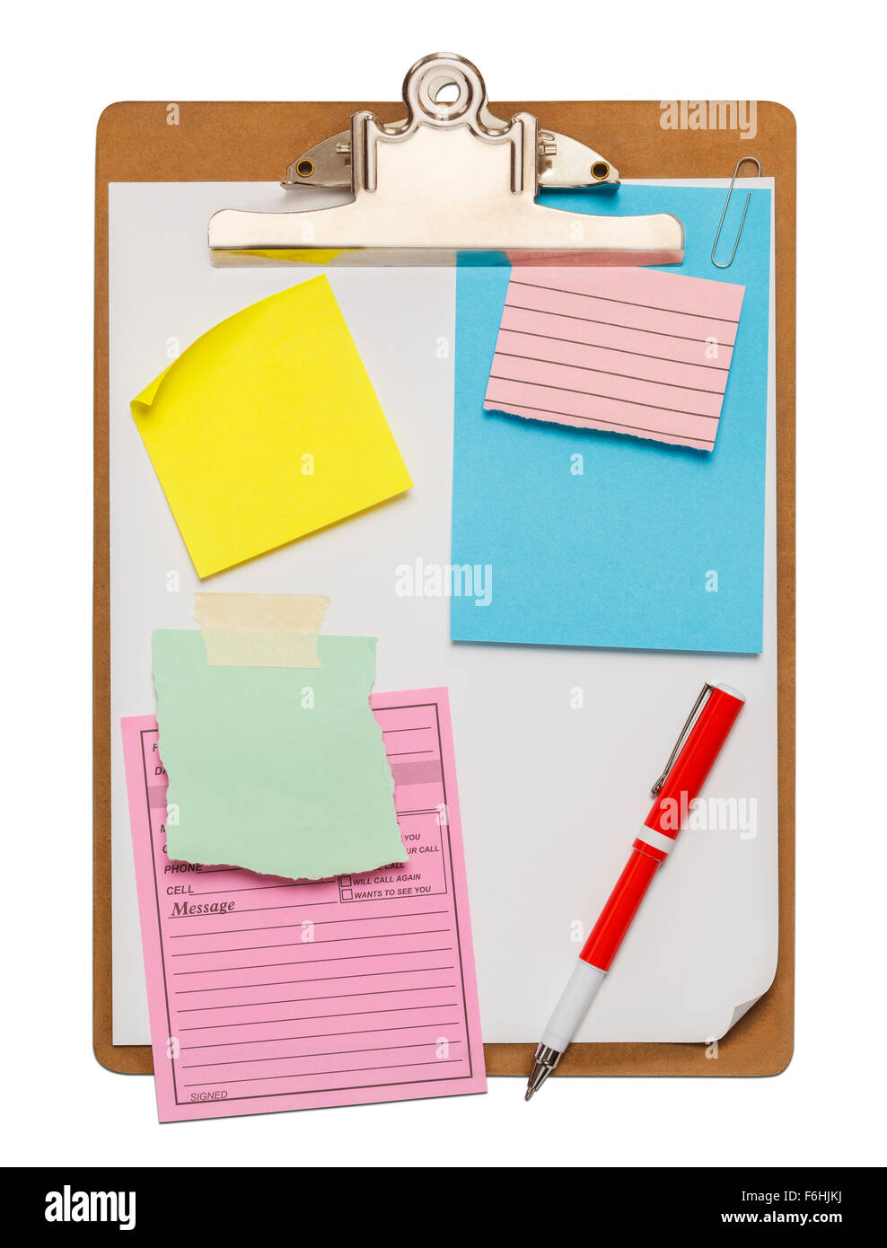 Clipboard with Scraps of Paper and Copy Space Isolated on White Background. - Stock Image