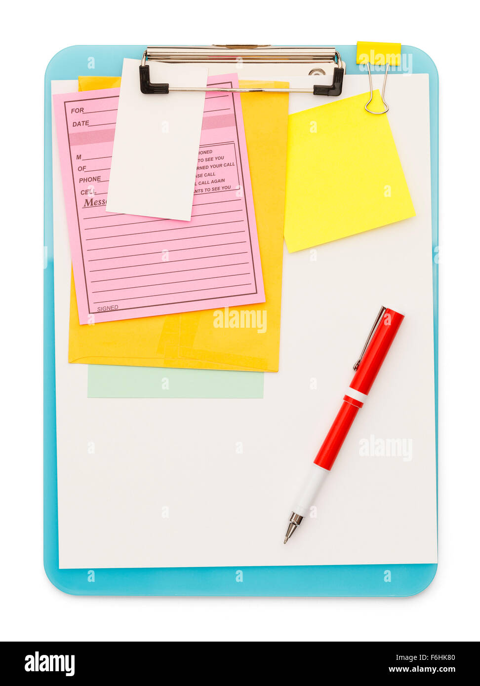 Clipboard and Notes with Pen Isolated on a White Background. - Stock Image