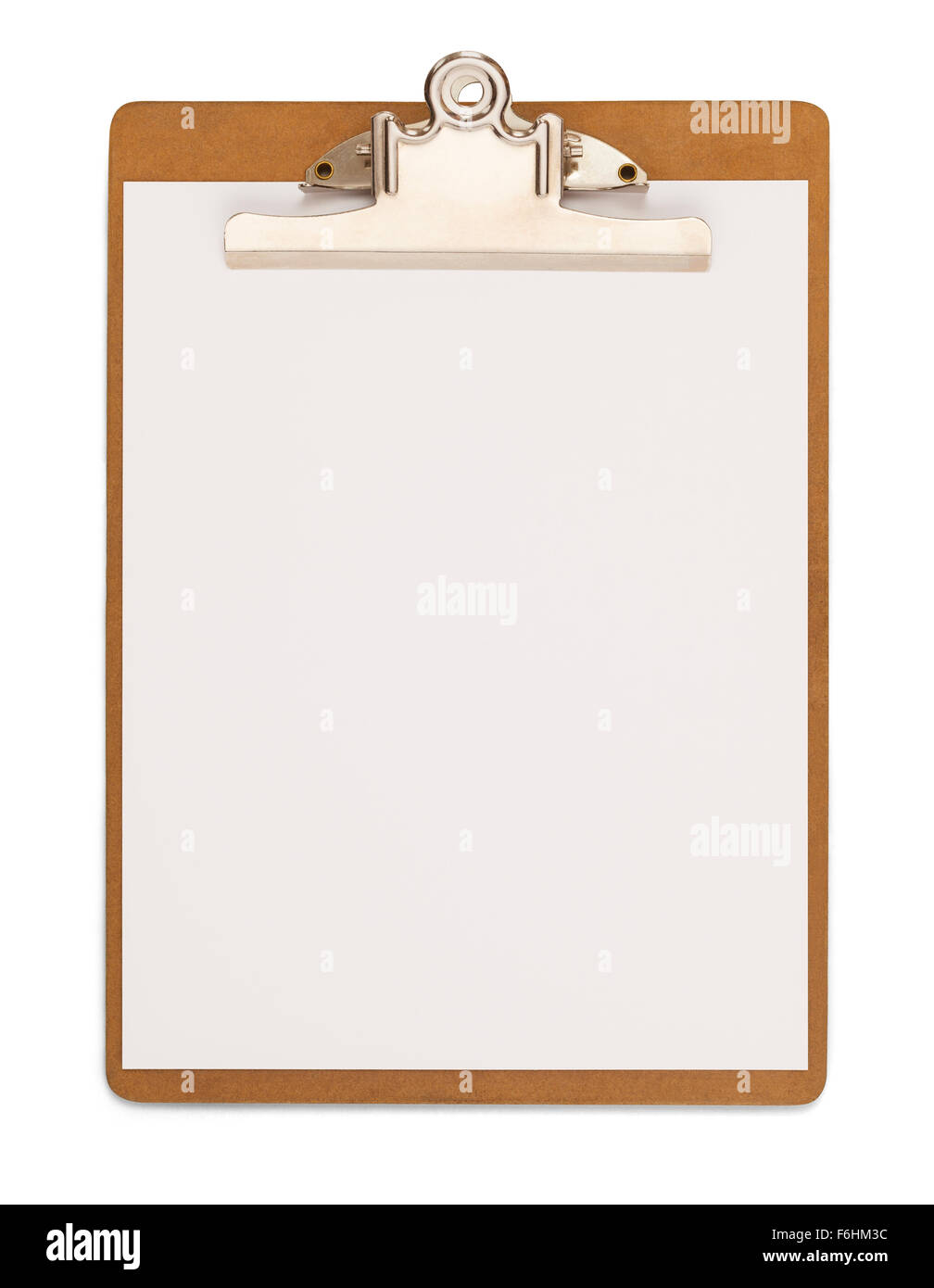 Wood Clipboard with Blank Paper Isolated on a White Background. - Stock Image