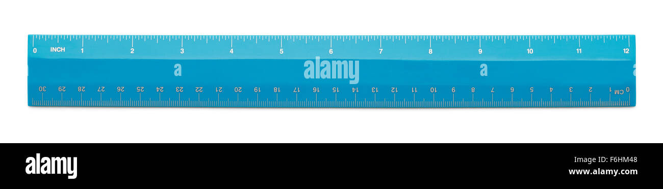 Blue Plastic Ruler Isolated on a White Background. - Stock Image