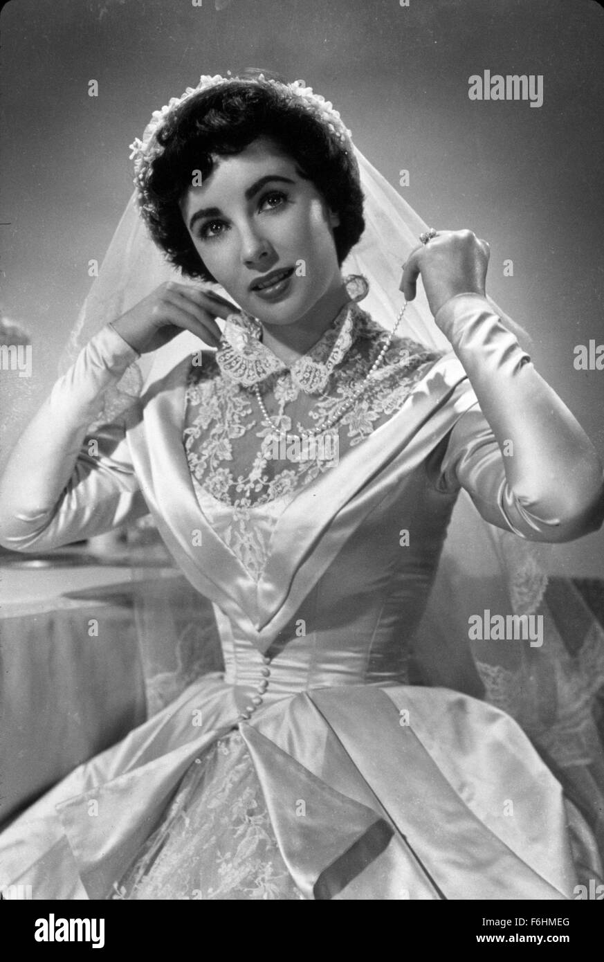1950, Film Title: FATHER OF THE BRIDE, Director: VINCENTE MINNELLI, Studio:  MGM, Pictured: CLOTHING, ELIZABETH TAYLOR, WEDDING GOWN, STUDIO, PORTRAIT,  ...