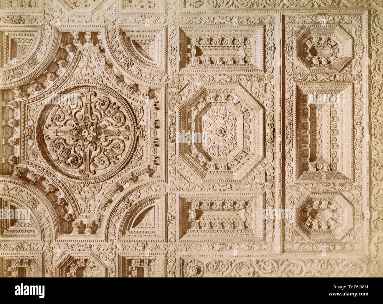 Carved wooden ceiling, Church of Badia, Florence, Italy - Stock Image