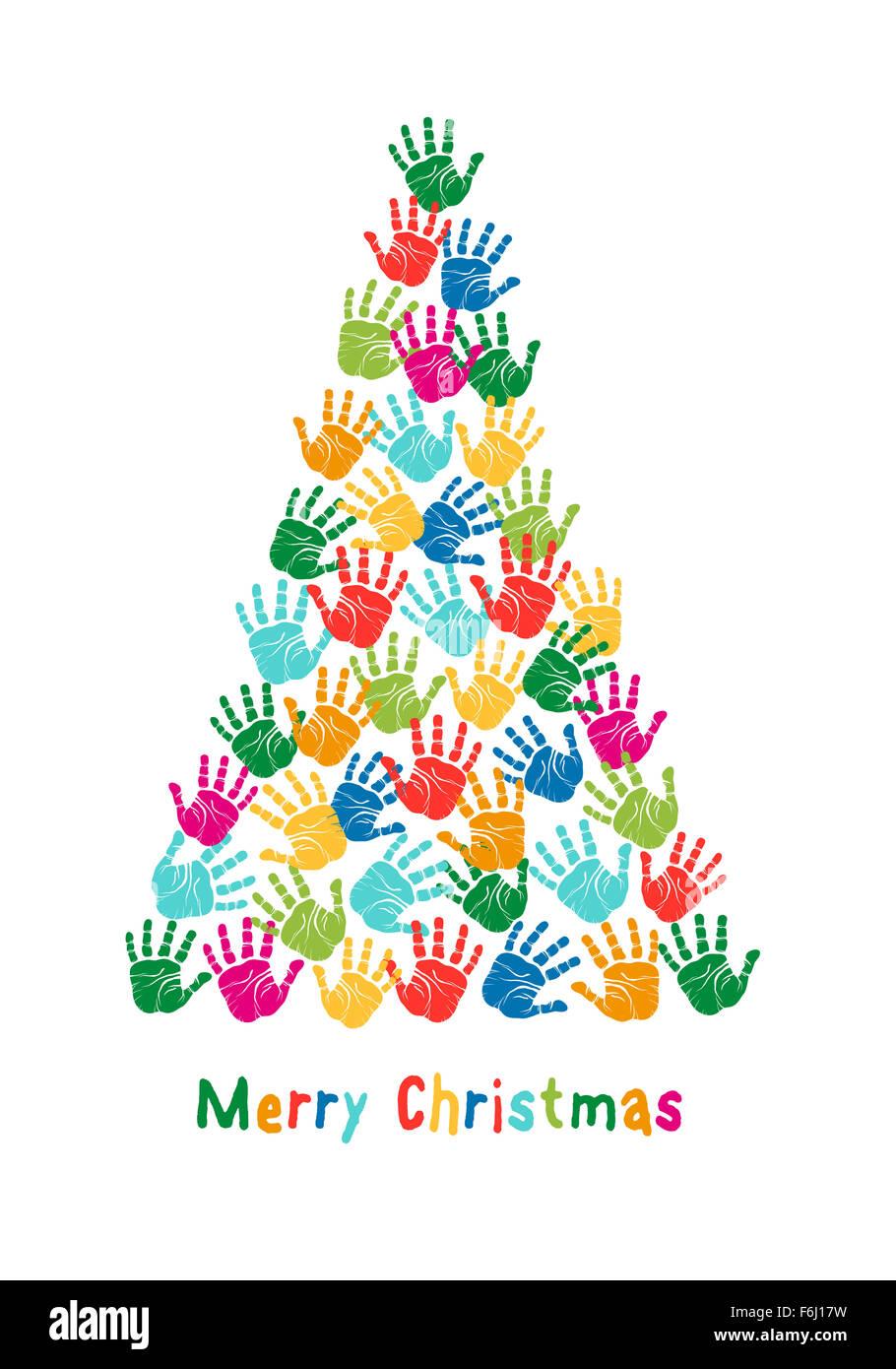 Colorful Christmas Tree Vector.Colorful Christmas Tree Kids Hand Prints Vector