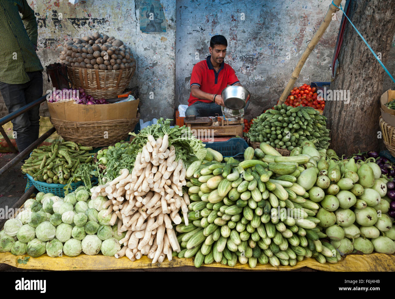 Vegetable stall in market at Chamba in the northern Indian state of Himachal Pradesh, India - Stock Image