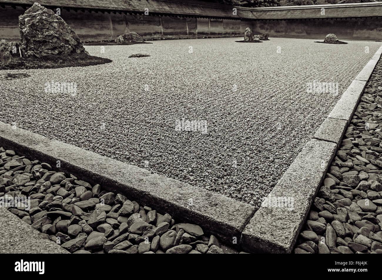 Kyoto, Karesansui garden - Stock Image