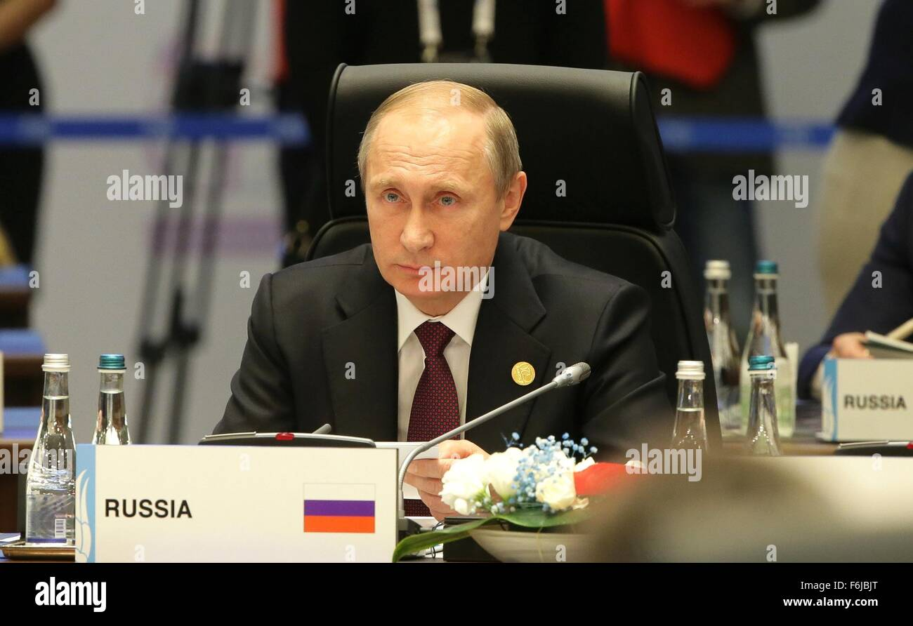 Russian President Vladimir Putin during a working meeting of the G20 summit November 15, 2015 in Antalya, Turkey. - Stock Image