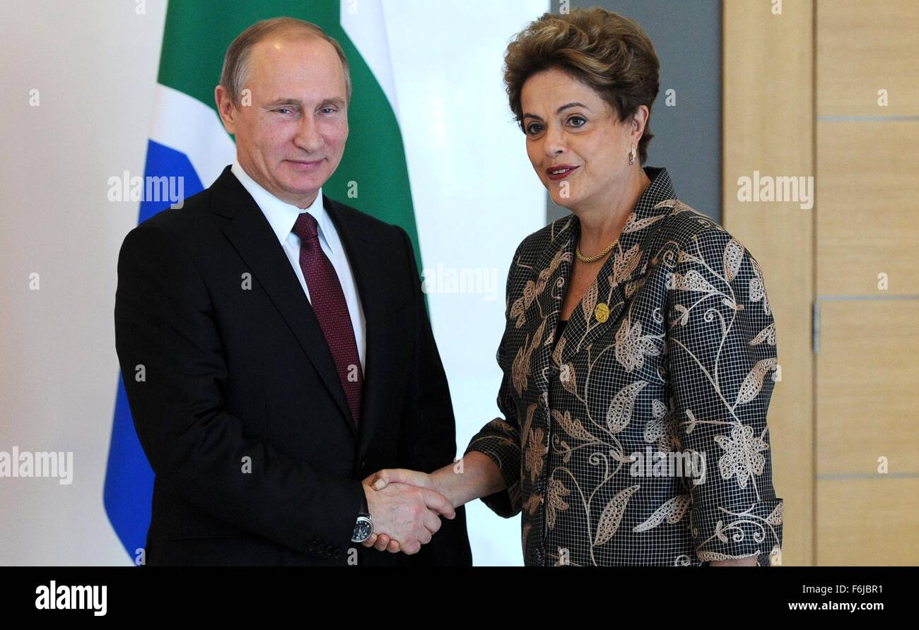 Russian President Vladimir Putin meets with Brazilian President Dilma Rousseff at an informal BRICS summit at the - Stock Image
