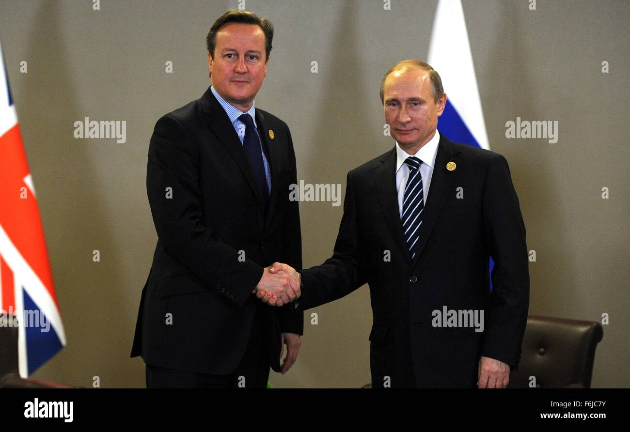 Russian President Vladimir Putin and British Prime Minister David Cameron meet on the sidelines of the G20 summit - Stock Image