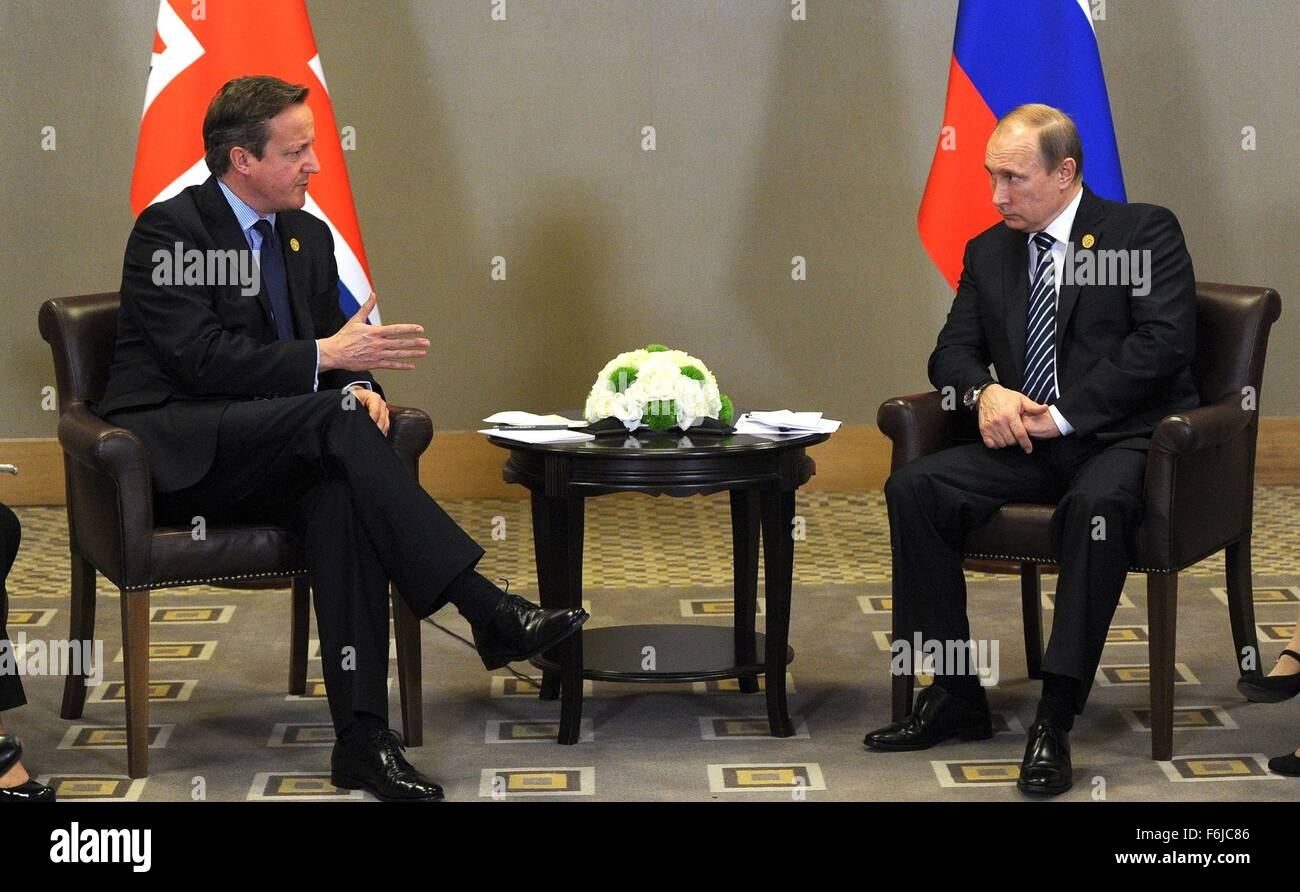 Russian President Vladimir Putin and British Prime Minister David Cameron meet on the sidelines of the G20 summit Stock Photo