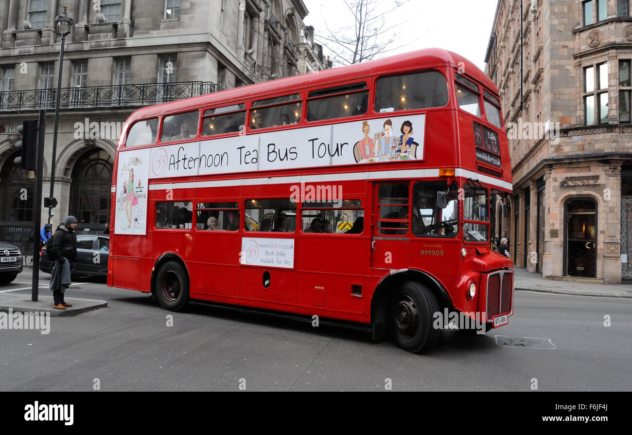 A traditional BB Routemaster, vintage double-decker bus offering an Afternoon Tea Bus Tour in Piccadilly, London, - Stock Image