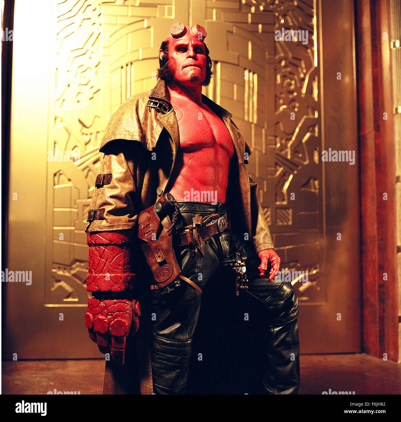 RELEASE DATE: April 2, 2004. MOVIE TITLE: Hellboy. STUDIO: Revolution Studios. PLOT: In the final days of World - Stock Image