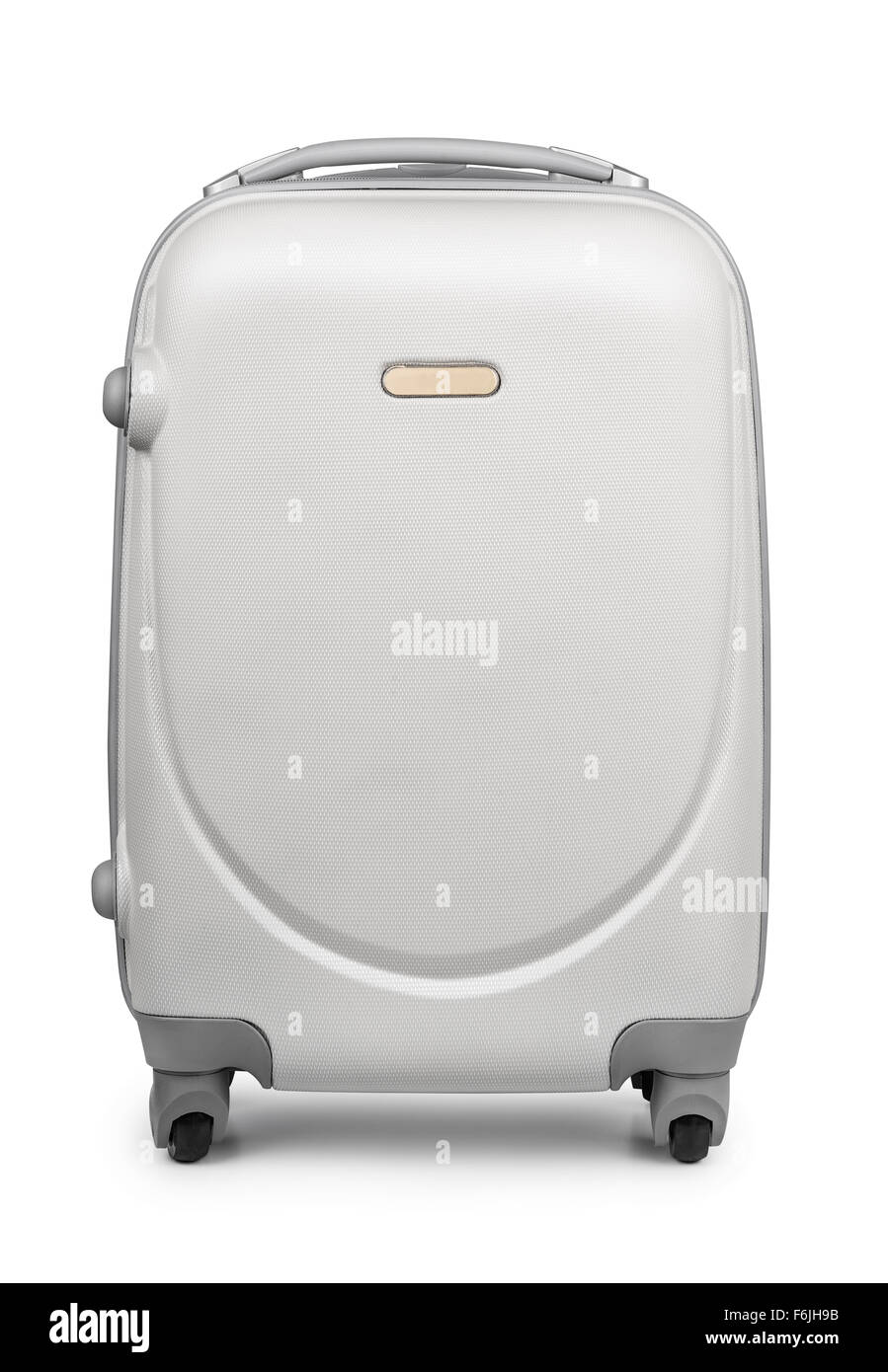 Plastic travel suitcase isolated on white - Stock Image
