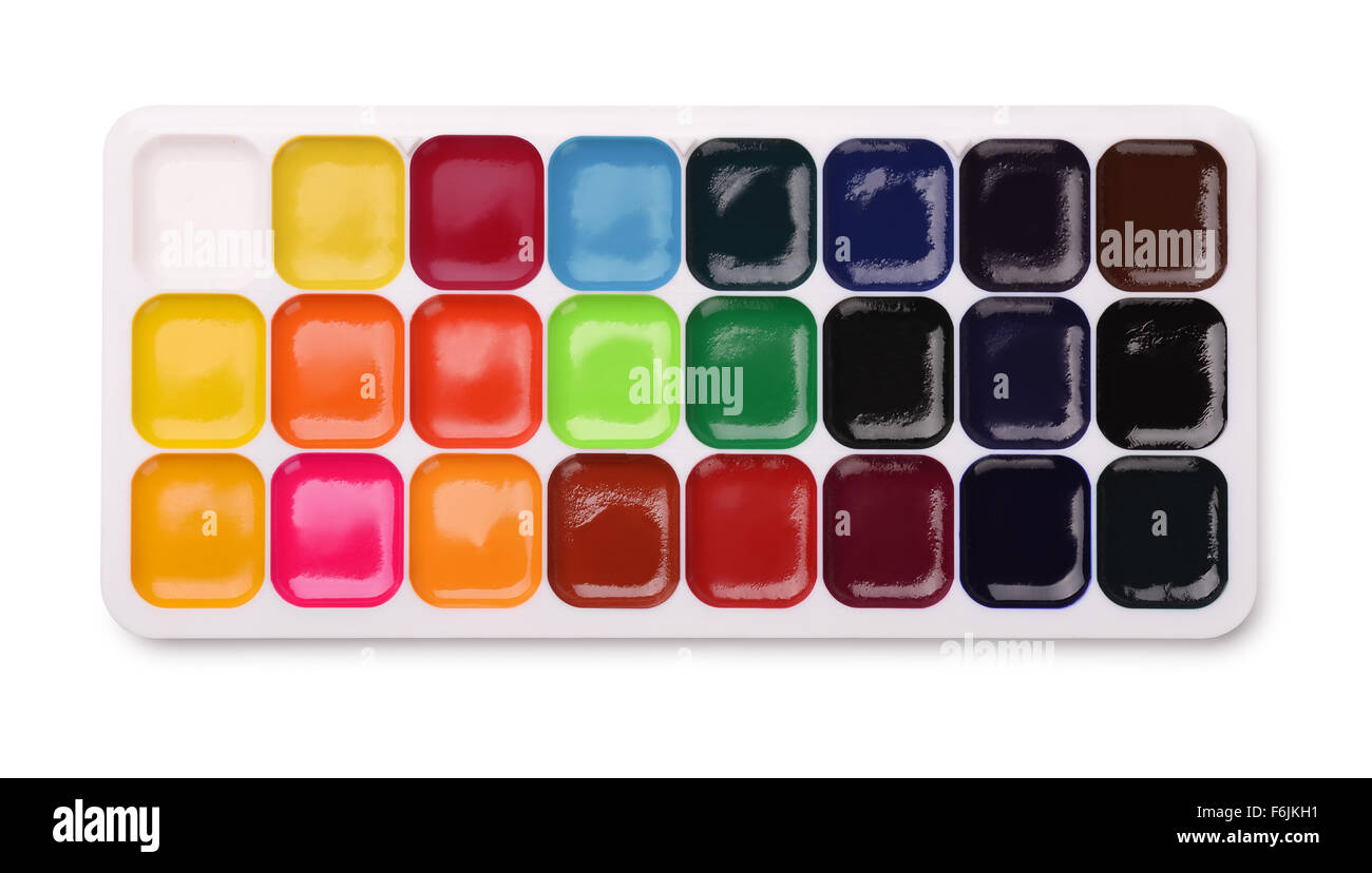 Watercolor paints palette isolated on white - Stock Image