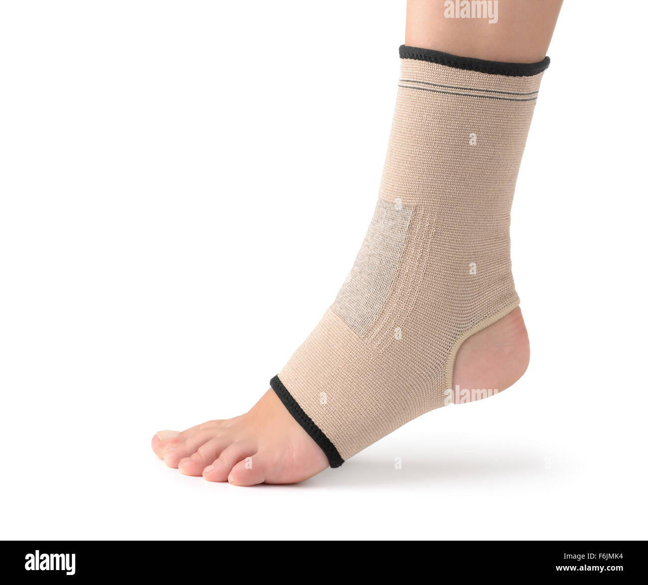 Elastic ankle support isolated on white - Stock Image