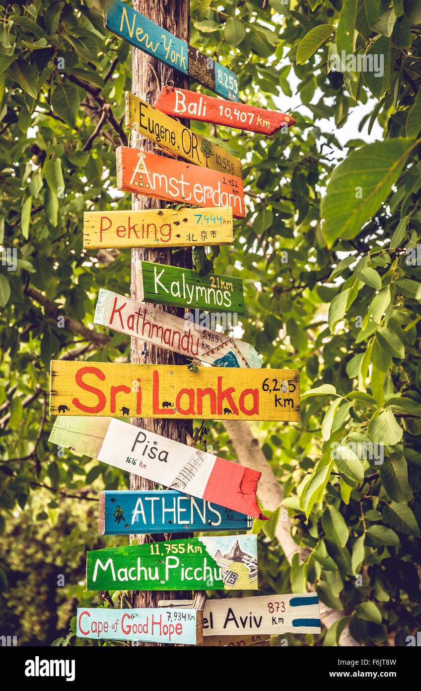 Signpost Of World Countries Stock Photos & Signpost Of