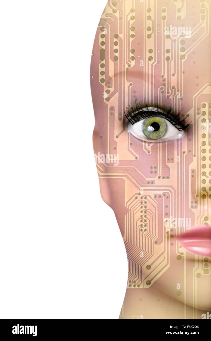 Double exposure artificial Intelligence concept, mannequin head with circuit board pattern - Stock Image