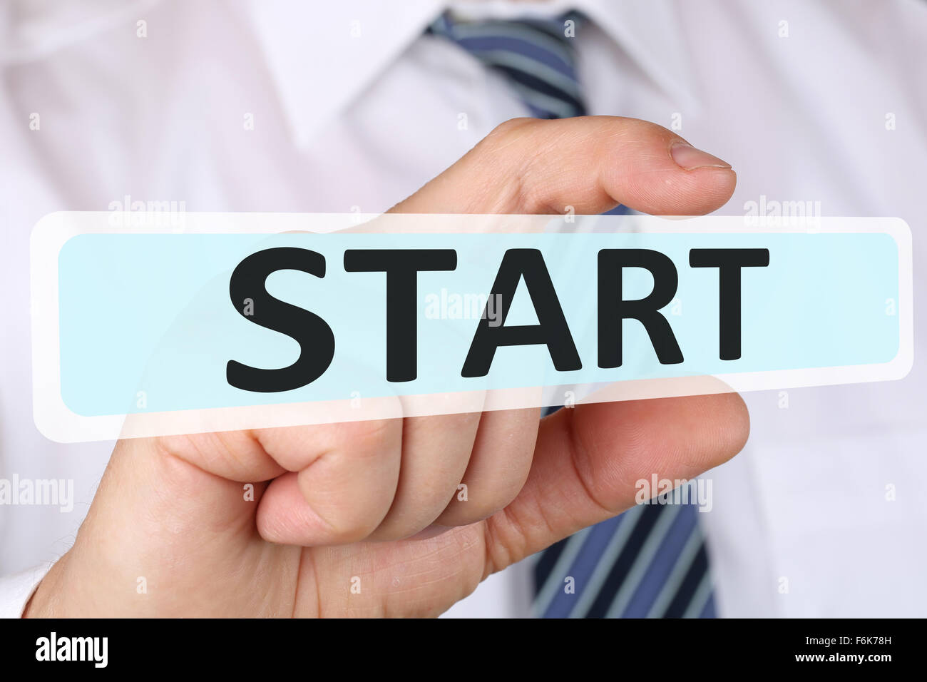 Businessman business concept with successful start starting beginning begin - Stock Image