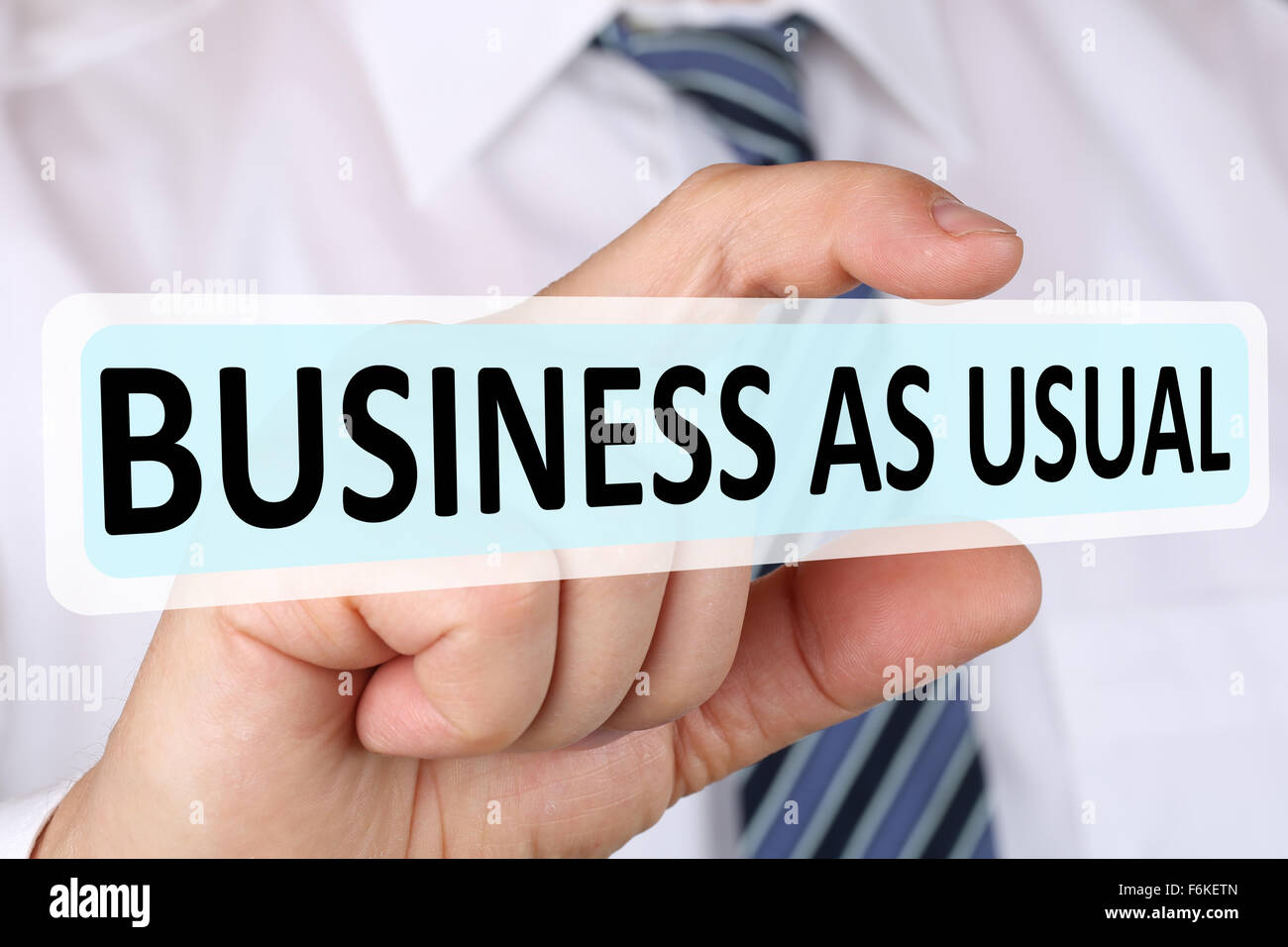 Businessman business as usual concept change strategy leadership - Stock Image