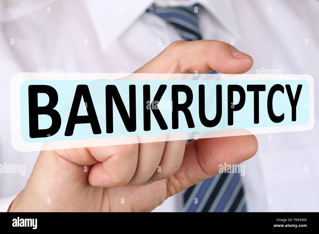 Businessman business concept with bankruptcy depts crisis deficit bankrupt financial - Stock Image