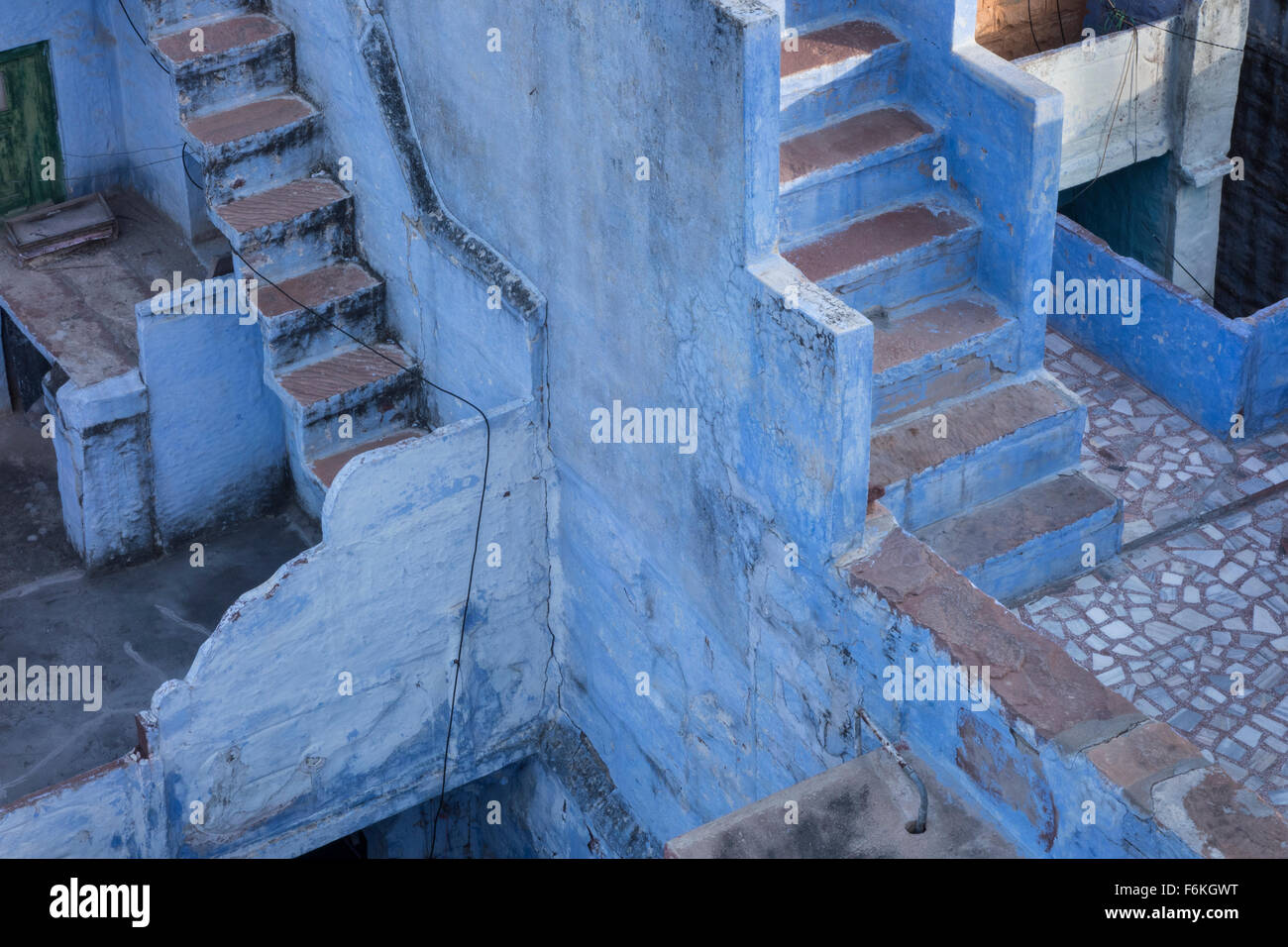Blue stairs in the blue city. Jodhpur, India. - Stock Image