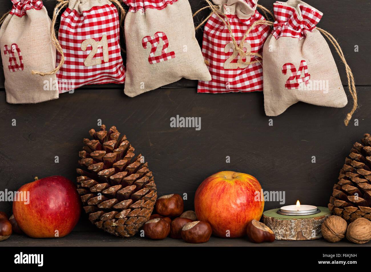 Christmas calendar - Advent, Santa Claus - Stock Image