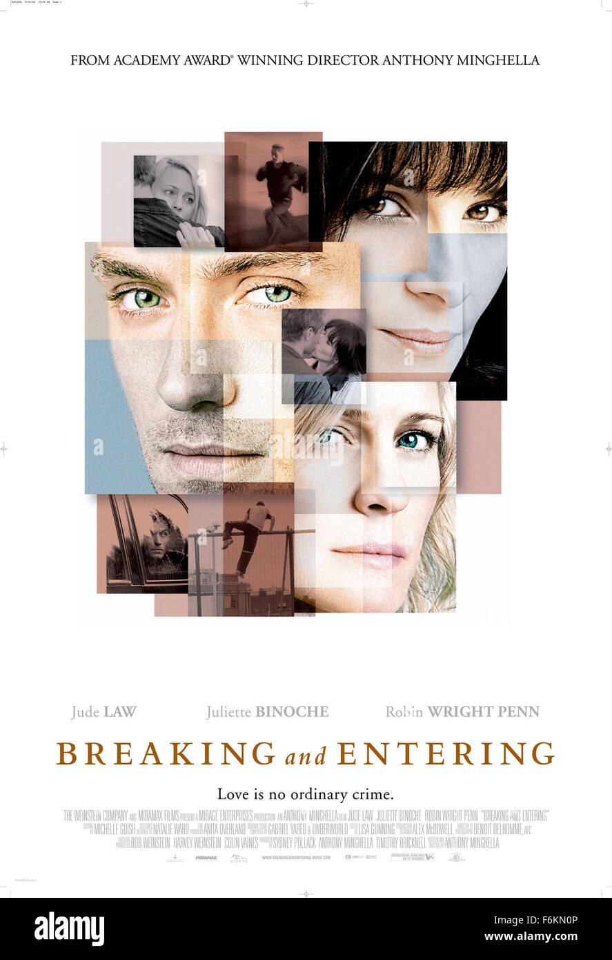 RELEASE DATE: January 26, 2007. MOVIE TITLE: Breaking and Entering - STUDIO: Miramax Films. PLOT: A Landscape Architect's - Stock Image