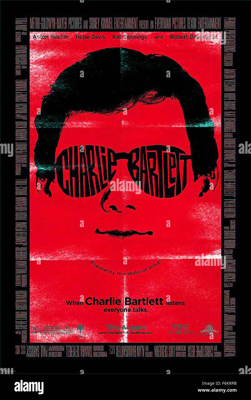 RELEASE DATE: May 01, 2007. MOVIE TITLE: Charlie Bartlett. STUDIO: MGM. PLOT: Wealthy teenager Charlie Bartlett - Stock Image