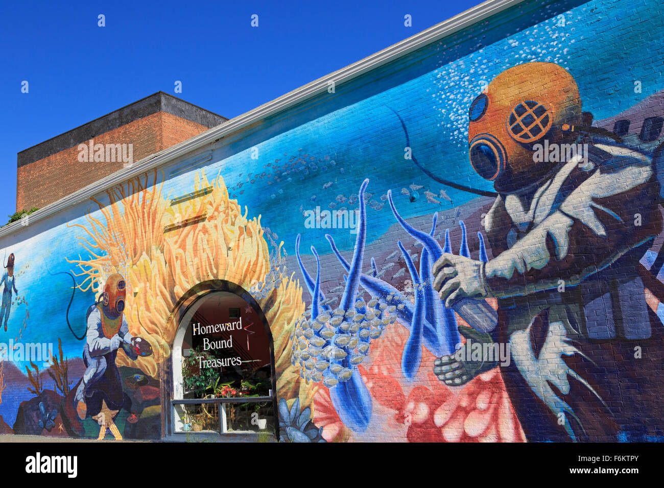 Mural, The Carriage House, New London, Connecticut, USA - Stock Image