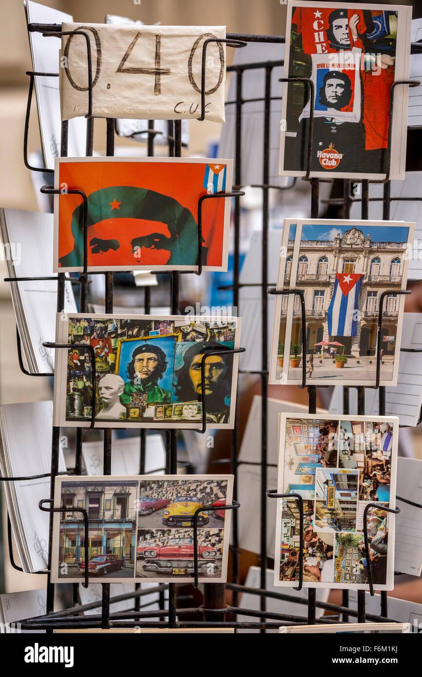 Postcard stands with postcards of Ernesto Che Guevara,, in Old Havana, souvenirs, La Habana, Cuba, Caribbean, North - Stock Image