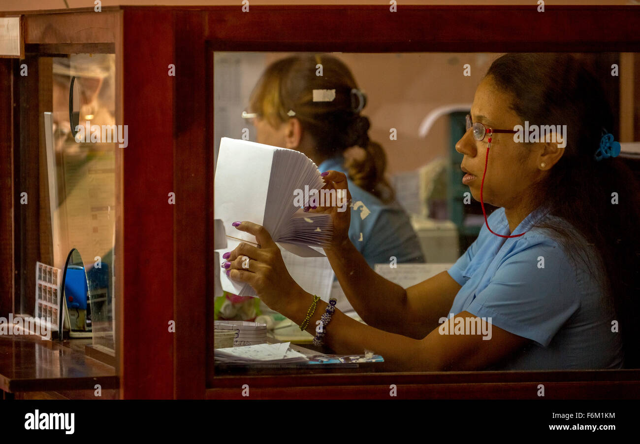 Post office with a staff, General Post Office, letters include, worker, postal worker, switch official, in Old Havana, - Stock Image