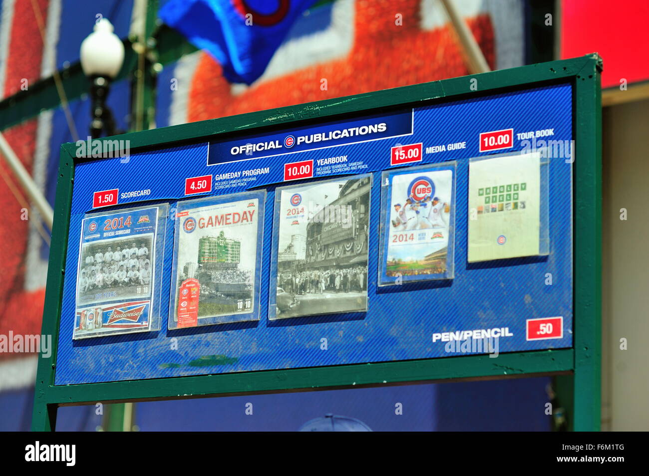 Variety of programs and guides for sale in front of the main entrance to Chicago's Wrigley Field on its 100th anniversary. Stock Photo