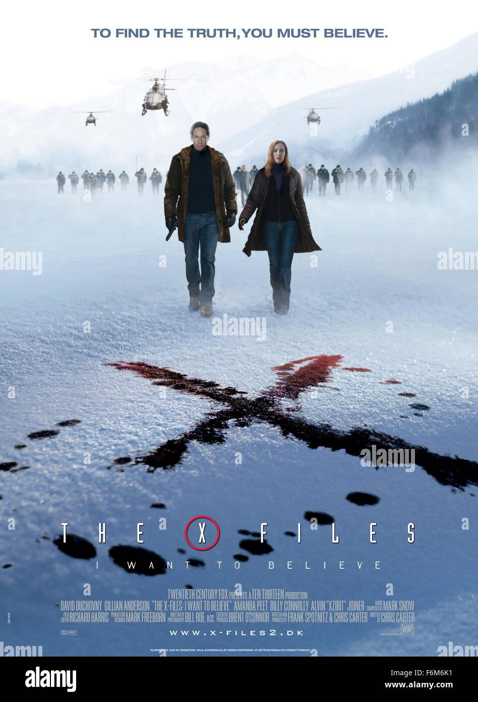 RELEASE DATE: 25 July 2008. MOVIE TITLE: The X Files: I Want to Believe. STUDIO: Twentieth Century-Fox Film. PLOT: Stock Photo