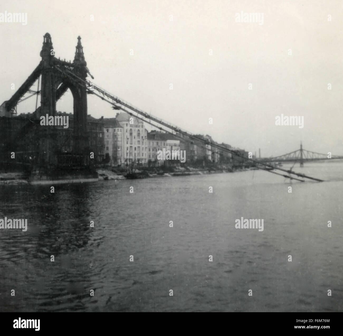 Destroyed bridge, Budapest, Hungary - Stock Image