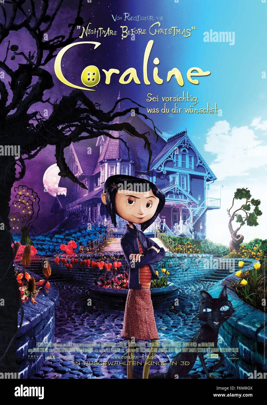 RELEASE DATE: 6 February 2009. TITLE: Coraline. STUDIO: Focus Features. PLOT: An adventurous girl finds another Stock Photo