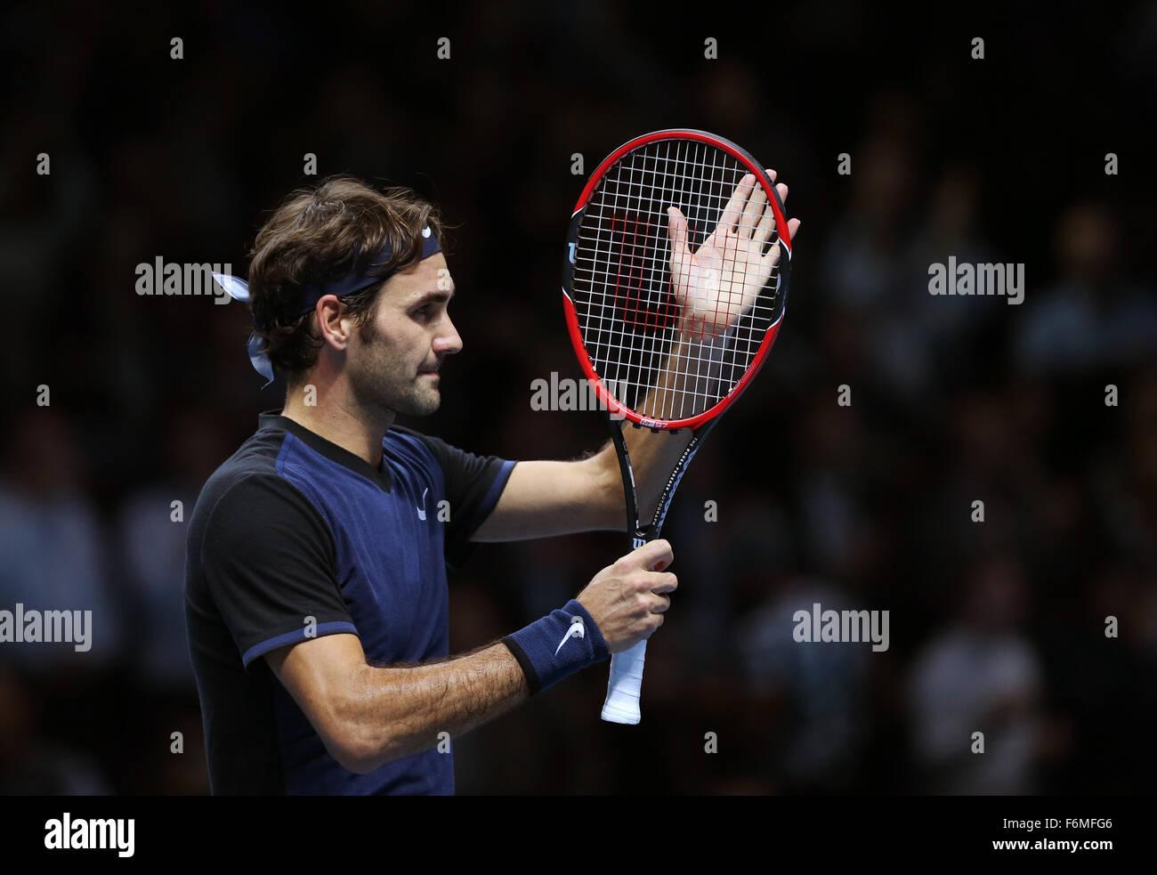 London, UK. 17th Nov, 2015. Roger Federer of Switzerland celebrates after the match against Novak Djokovic of Serbia Stock Photo