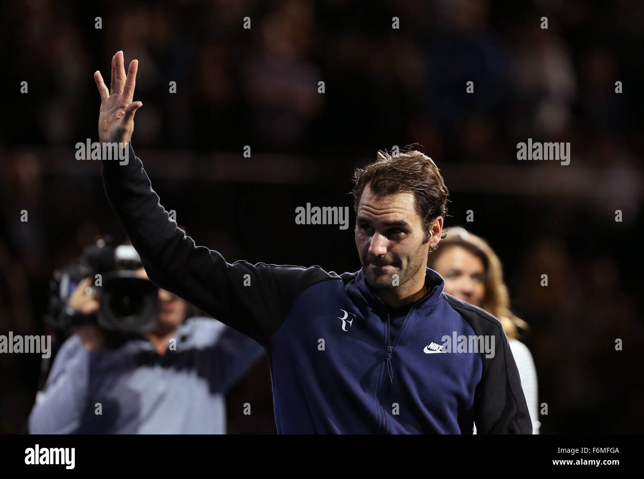 London, UK. 17th Nov, 2015. Roger Federer of Switzerland waves after the match against Novak Djokovic of Serbia Stock Photo