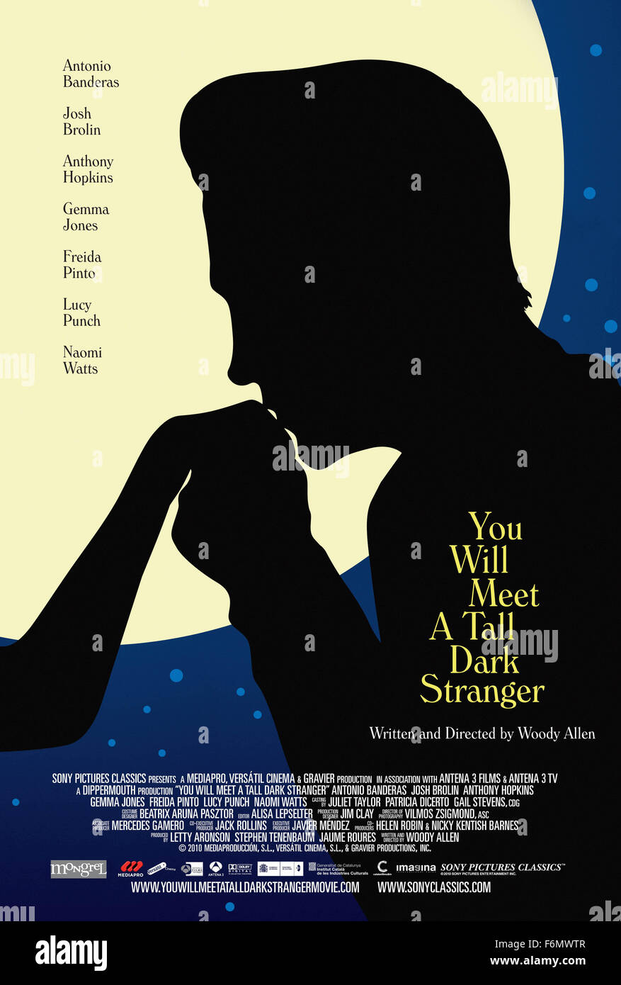RELEASE DATE: September 22, 2010. MOVIE TITLE: You Will Meet a Tall Dark Stranger. STUDIO: Mediapro. PLOT: Follows - Stock Image
